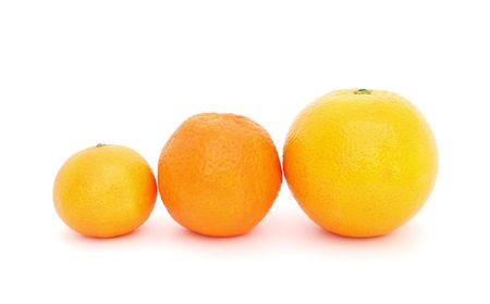 citrous: Set of three citrous fruits of increasing sizes on a white background.