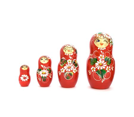 russian nesting dolls: Set of four russian dolls of increasing sizes. Stock Photo