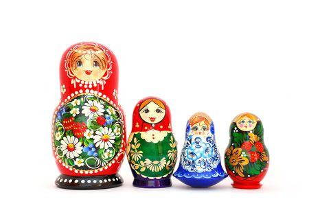 Russian Dolls on white. photo