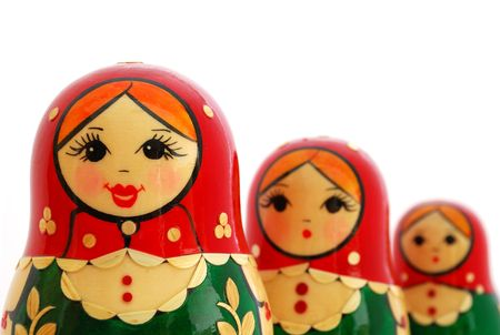 matroshka: Three Russian Nesting Dolls on a white background. Stock Photo