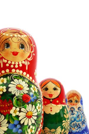 russian nesting dolls: Three different russian nesting dolls on a white background. Stock Photo
