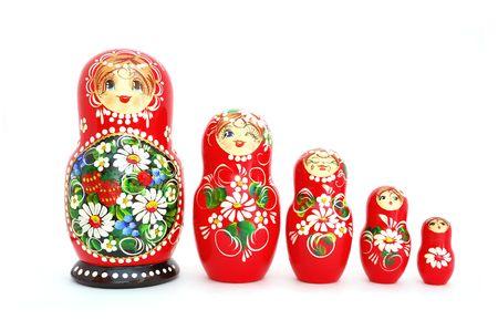 mu�ecas rusas: Mu�ecas rusas de anidamiento. Recuerdo de Rusia. Foto de archivo