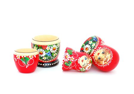 matroshka: An opened Russian dolls on a white background. Stock Photo