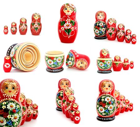 Image Set of Russian Nesting Dolls on white background. photo