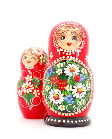 Russian Dolls on white background. Souvenir from Russia. Stock Photo - 6389933