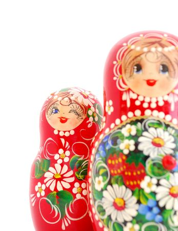 matroshka: Russian Dolls on white background. Souvenir from Russia.