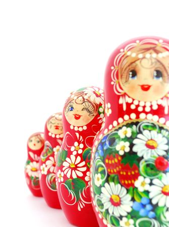 Russian Dolls on white background. Souvenir from Russia. photo
