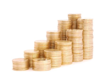 Stacks of coins of increasing sizes. photo