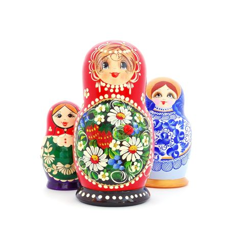 matroshka: Three different Russian dolls, also known as Matryoshka. White background. Stock Photo