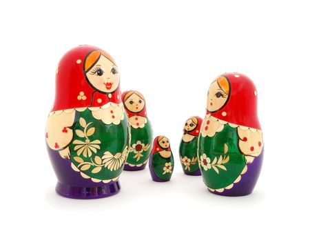 The family Russian nested dolls. White background. photo