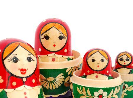 nested: ian nested dolls family. White background. Stock Photo