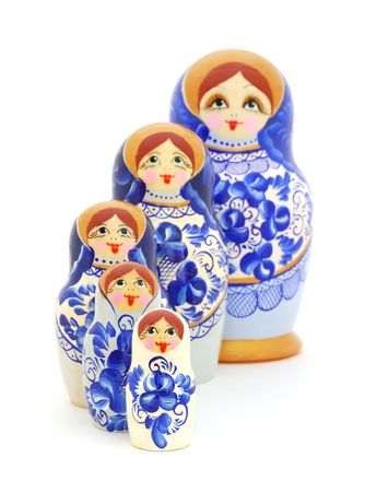 russian nesting dolls: Russian nesting dolls on white background. Stock Photo