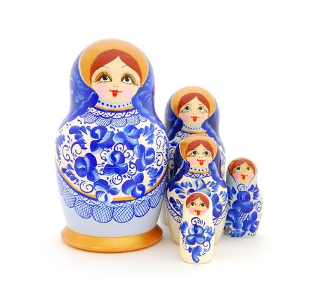 matroshka: Russian nesting dolls on white background. Stock Photo