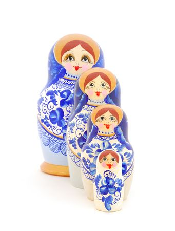 Russian nesting dolls on white background. photo