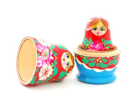 matroshka: An opened Russian doll on white background. Stock Photo
