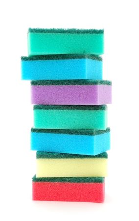 Stack of sponges on white background. photo