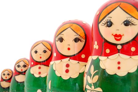 made in russia: Set of russian nested dolls on white background. Stock Photo