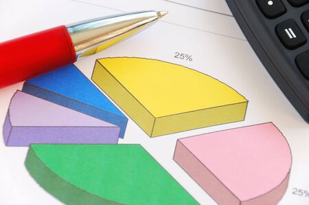 Close-up of a pie chart, pen and calculator. photo