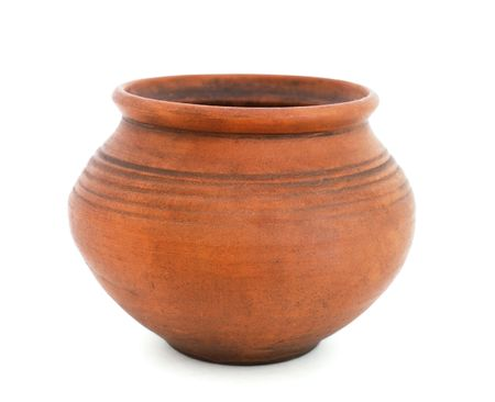 old container: Clay pot on white background
