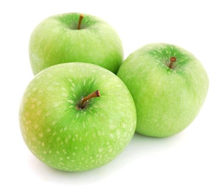 Three green apples isolated on white background photo