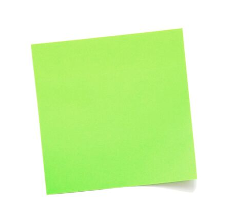 bulletinboard: Blank green sticky note on white background Stock Photo
