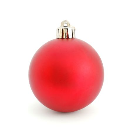 chrom: Red Christmas Ball isolated on white background