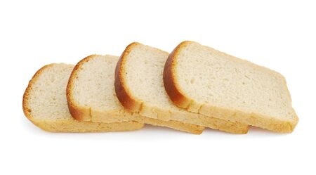 Slices of bread isolated on white background photo