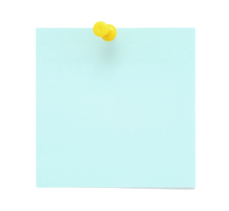 bulletinboard: Blue sticky note with pushpin