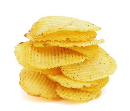 unhealthy snack: Pile of potato chips