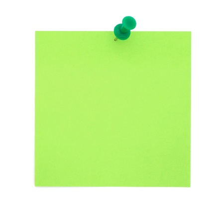 Green sticky note with pushpin photo