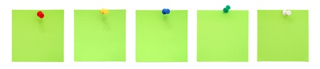red pushpin: Set of green sticky notes with push pins  Stock Photo