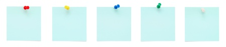 Set of blue sticky notes with push pins  photo