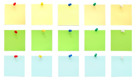 push up: Set of post it notes with push pins  Stock Photo