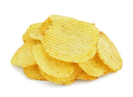 The heap of potato chips on white background  photo