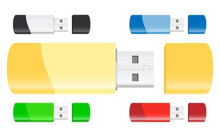 Set of USB Flash Drives Vector Vector
