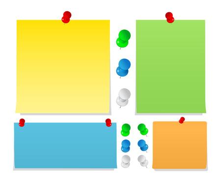 pushpins: Notas de vector adhesivas con Push Pins