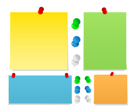 Vector Sticky Notes with Push Pins  Vector