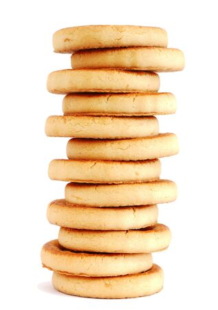 Stack of cookies on white background photo
