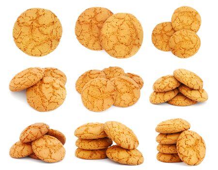 oatmeal: Conjunto de im�genes con galletas de avena en fondo blanco