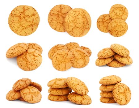 Set of images with oatmeal cookies on white background photo