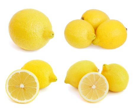 Set of images with lemons on white background photo