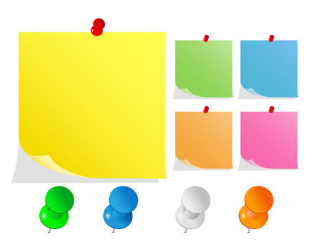 Vector Post-It Notes with Push Pins Stock Vector - 8964734