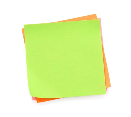 Blank green post-it note isolated on white background photo