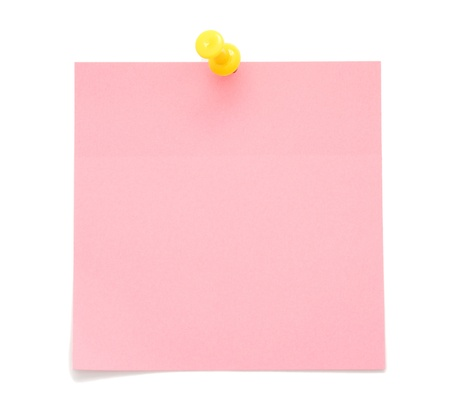 Blank pink post-it note isolated on white background photo