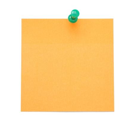 Blank orange post-it note isolated on white background photo