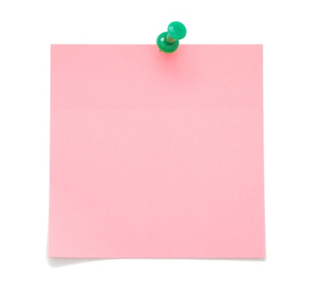 Blank pink sticky note with push pin isolated on white background  photo
