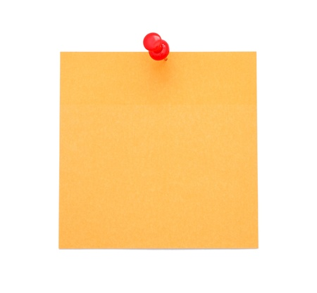 Blank orange post-it note with push pin isolated on white background photo