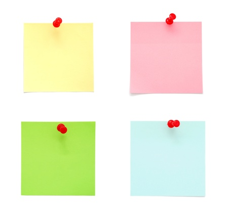 Set of blank post-it notes with push pins on white background photo