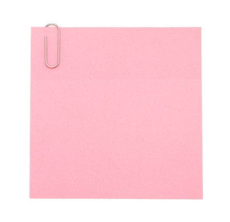 Pink paper note with paper clip photo