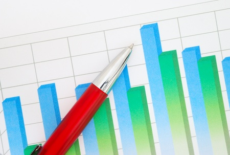 Red pen on financial graph Stock Photo - 9304447